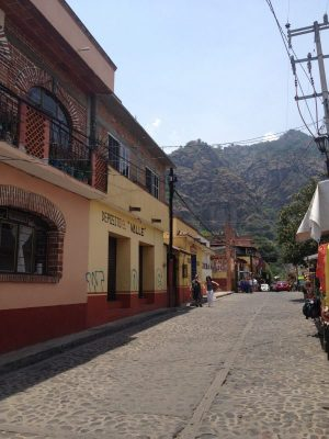 The hike to Tepozteco starts in town along the main road
