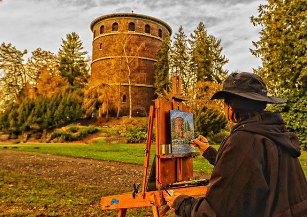 Painting outside on the country side