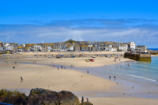 The main harbor at low tide in St. Ives, Cornwall. Photo by Noelle Salmi