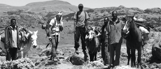 The author with guide Jafer and porters Haji, Abdullah & Usman on the Sanetti Plateau Image – Sam McManus
